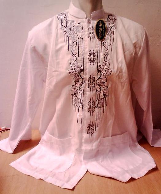 Baju Koko Putih Lengan Pendek Bordir Busana Muslim Pria