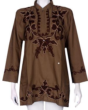 baju atasan muslimah BM0567 coklat tua