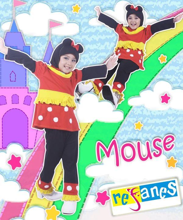baju muslim anak refanes mickey mouse