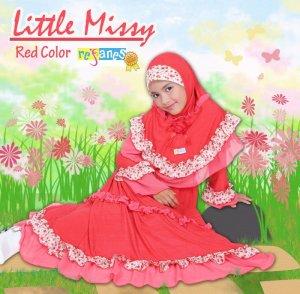 gaun dan jilbab anak refanes little missy merah