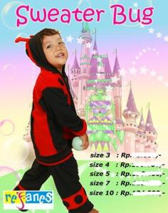 Sweater Bugy Kumbang. size 7 (6-7tahun) rp.147.000.order  sms 081314165023 (sms only), pin 2969012F