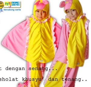 mukena anak butter fly pink kuning new